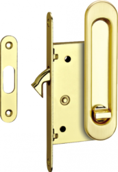 Ручки для раздв.дверей с замком SDH-ВК 501GP/латунь/фикс./TIXX/