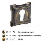 Накладка на цилиндр ЕТ 19 CF/квадрат/кофе/RENZ/