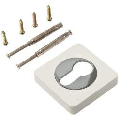 Накладка на цилиндр квадр. ЕТ 02 W/СР/белый-хром/RENZ/